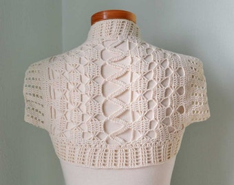 Crochet shrug bolero, Ivory lace,  H770