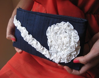 Navy and White Nautical Wedding Clutch - The Kimberly Clutch in navy blue and white silk, bridesmaids ruffle bag, formal evening wear purse