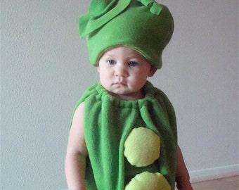 Kids Costume Childrens Costume Halloween Costume Pea Costume  Pea Pod