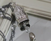 Repurposed Vintage Silver Plated Flatware Upcycled Bell Pendant on an Oxidized Sterling Silver and Swarovski Crystal Chain