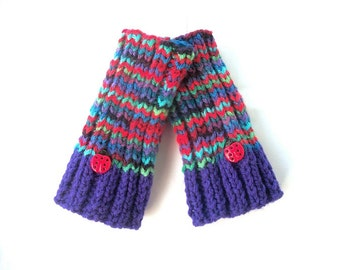 Small Fingerless Gloves - Hand Knit Colorful Gloves with Ladybugs - Children or Small Adult