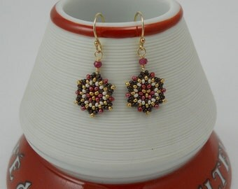 Mini Mandala Earrings / Ruby Gemstone Rondelles/ Gold-Filled Earrings/ Hand-beaded/ Petite/ Delicate/ Intricate/ Autumn/ Fall  - - - Allegra