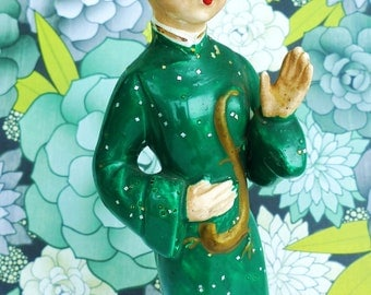 antique Asian doll porcelain figurine green dress 1940s