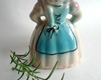 cute  planter  vintage  dutch girl cutie ceramic  blue nursery
