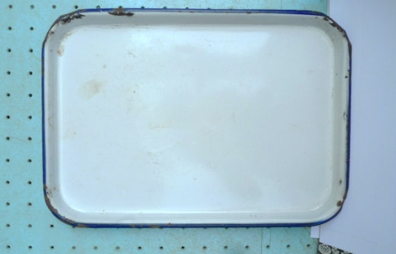 white blue enamel tray rustic 1940s metal tray blue edge