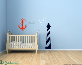 Nautical Theme Lighthouse Anchor Birds - Bedroom Decor - Wall Stickers - Wall Decals - Vinyl Wall Quote Saying Stickers Decals 1408