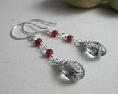 Tourmalinated Quartz Ruby Earrings Sterling Silver Black Tourmaline Clear Quartz Gemstone - Black Forest