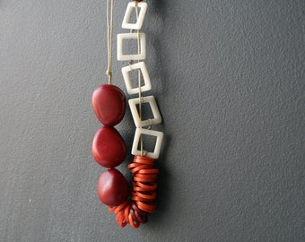 Eco Red and White Taguas Necklace