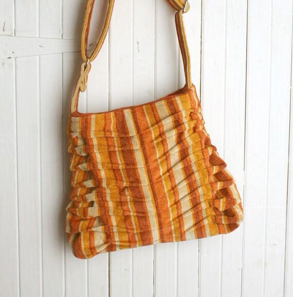 Pleated Handbag Purse, Orange Stripe