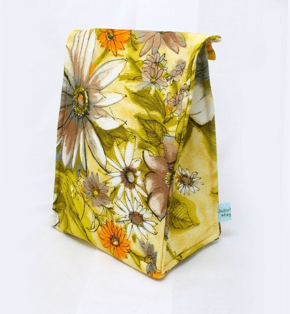 Back to School Lunch Bag in Yellow Floral
