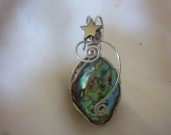 Silver  Wire wrapped Paua Abalone shell pendant with star-Free Shipping