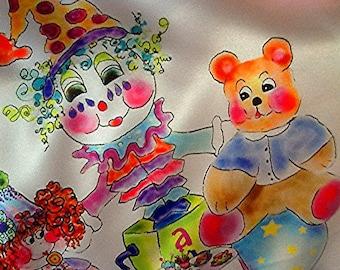 Silky charmeuse luxury minky baby blanket/ The Toy Tea Party by Rosanna Hope for Babybonbons