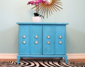 Mid Century TURQUOISE Blue Vintage Mini CREDENZA BAR Cabinet