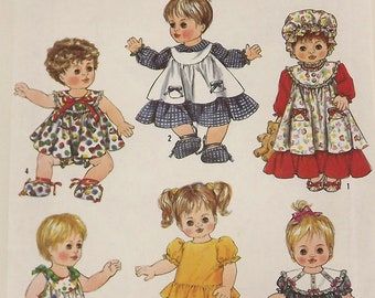 Vintage 80s Sewing Pattern, Doll Clothes, Wardrobe for Baby Dolls, All Sizes