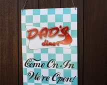 Welcome Door Sign Banner 1950s Retro Diner Birthday Party