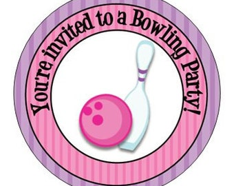Set of 24 Small Round Bowling Birthday Party Stickers