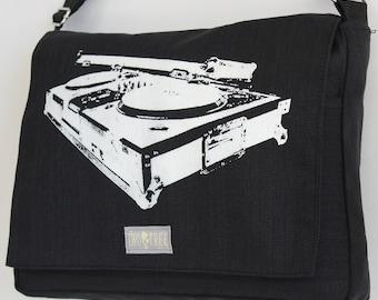 BLACK Turntable MESSENGER Book Laptop Diaper Bag