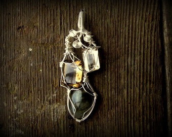 Wire Work Sculpture Silver Pendant // Labradorite Smokey Quartz Citrine // Wire Work // Tri Mystic // Stone Magic
