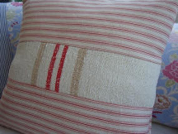 "European Vintage GRAINSACK Cottage Paris Shabby Chic Red Ticking 16"" Pillow"
