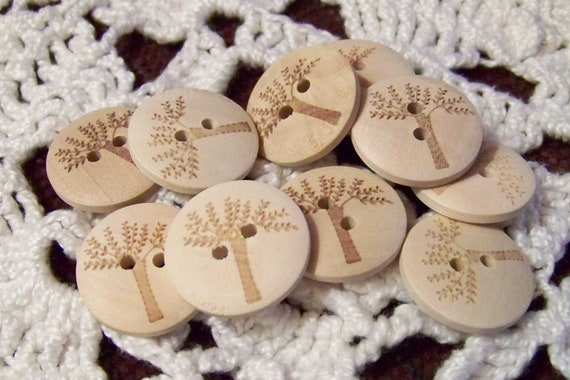 New Wood Wooden Scrapbooking Buttons with Etched Trees