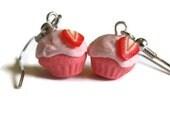 Strawberry Pink Cupcake Earrings
