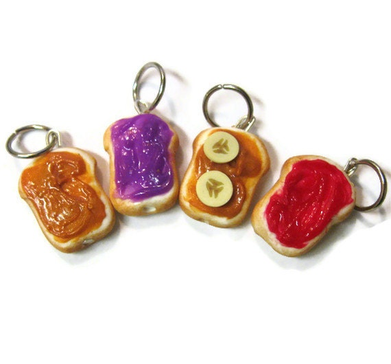 Mini Peanut Butter and Jelly Stitch Markers, Charms, Set Of 4