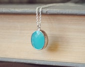 yeahhello. silver turquiose blue drop of light necklace