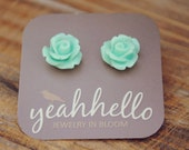 aqua blue parade rose flower earrings by yeahhello