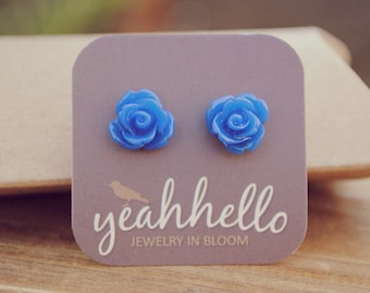 cobalt blue parade rose flower earrings by yeahhello