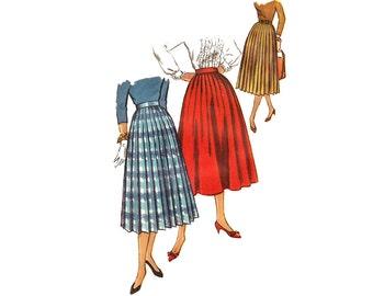 Vintage Sewing Pattern 1950s Pleated Skirt Flare Pleat Below Knee Length Uncut size Small Waist 25 Simplicity 2192 Unused