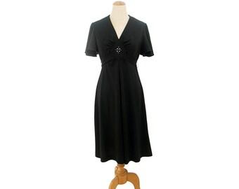 Vintage Empire Waist 1970s Dress Black Rhinestone Midriff Medium