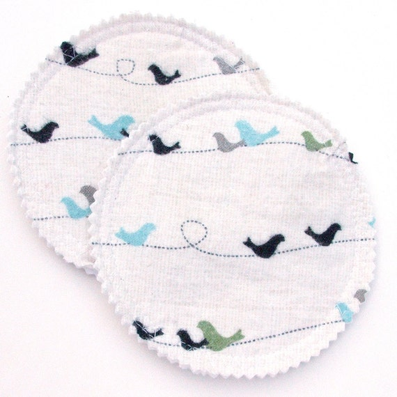 Nursing Pad Set in Bamboo and Organic Cotton with Waterproof PUL in Birds on a Wire cotton flannel print