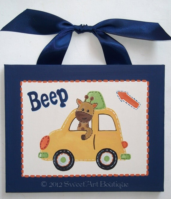 Transportation cars vroom zoom beep door CUSTOM canvas yellow blue giraffe wall HAND PAINTED boy wrecker car truck