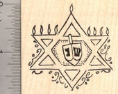 Star of David Menorah Rubber Stamp, Hanukkah, Chanukah Festival of Light H19717 Wood Mounted