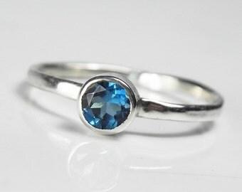 Teal Blue Topaz Ring - London Blue Topaz Gemstone Stack Ring - Silver Blue Topaz Jewelry - December Birthstone - Deep Blue Sea