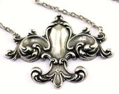 Fleur De Lys Necklace Gothic Classical Style Pendant Steampunk Jewelry Designed by London Particulars