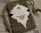 Burlap wedding favor bags - Personalized - Thank you - Christmas Ornament