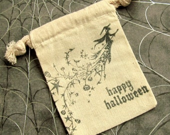 5 Halloween Treat Bags - Hand stamped - Muslin - Witch