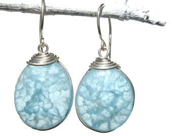 frosted pale blue fried glass earrings with silver