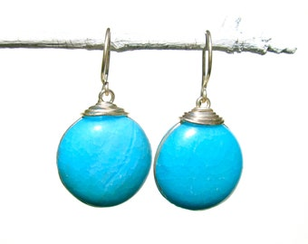sky blue glass earrings with silver
