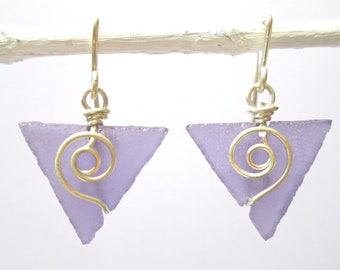 Purple seaglass-like baby triangle earrings with spirals