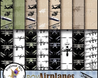 Boy Airplanes set 2 INSTANT DOWNLOAD with 17 jpg files Digital scrapbooking papers with bi planes airliners black hawk choppers