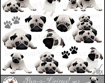 Pug-a-Licious Pug Dog INSTANT DOWNLOAD Graphics set 2 with 13 digital graphics with 3 adorable pugs includes faces and paw prints