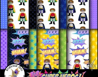B&R Super Heros set 1 INSTANT Download 17 digital papers SuperHeros with Fighting Words superhero words with black blue green red yellow