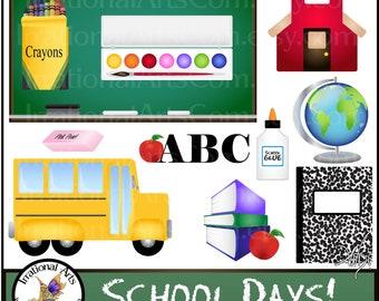 School Days Clip Art Graphics set 1 - PNG digital files school bus books watercolors globe apple crayons pencil chalkboard eraser glue