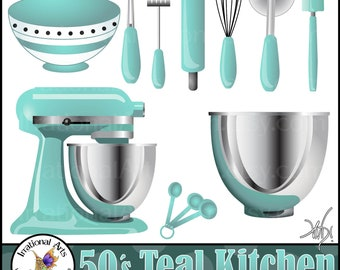 50's Teal Kitchen Digital Clipart Graphics - 10 kitchen baking supplies: bowl, whisk, rolling pin, etc {Instant Download}