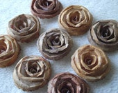 Scrapbook Flowers...9 Piece Set Very Beautiful Shabby Chic Tuscany Scrapbook Rolled Paper Flower Roses