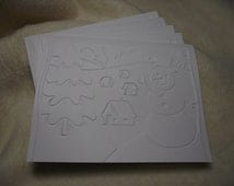 Christmas Cards...5 Sets of Very Lovely and Serene Snowy Scene Embossed Note Cards and Envelopes