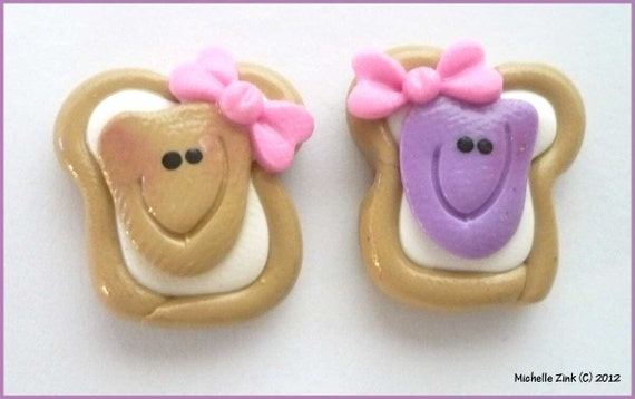 Polymer Clay Bead Bow Center Set Peanut Butter & Jelly Pair