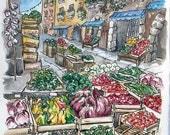 SALE: large Italian Farmer's Market watercolour print - giclee